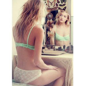 FREE PEOPLE | Cheeky Lace Balconette Bra, Lime